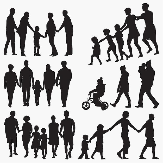 Sylwetki rodziny 3 Premium Wektorów