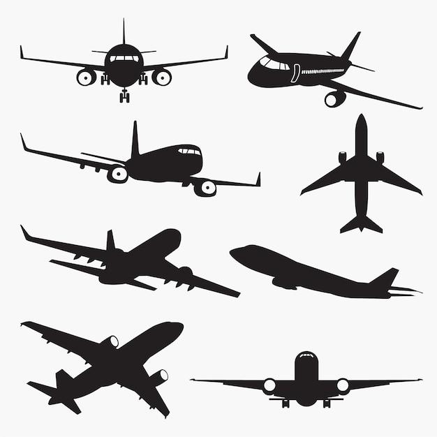 Sylwetki Samolotów Premium Wektorów