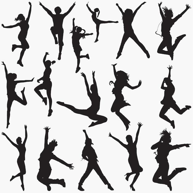 Sylwetki Tańca Współczesnego Premium Wektorów