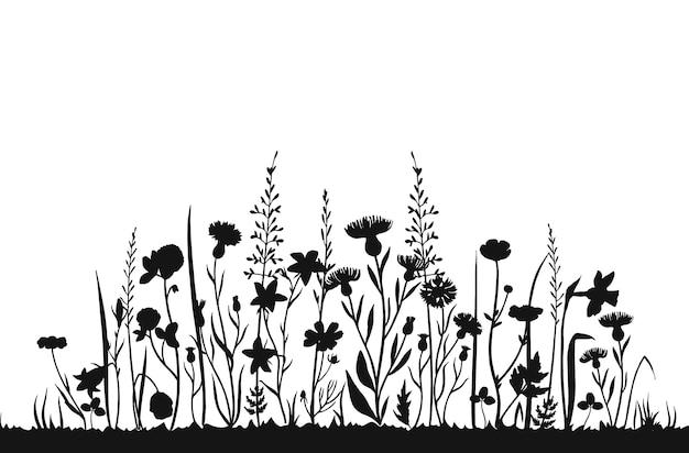 Sylwetki Wildflower. Dzika Trawa Wiosna Pole. Ziołowe Lato Tło Wektor Premium Wektorów