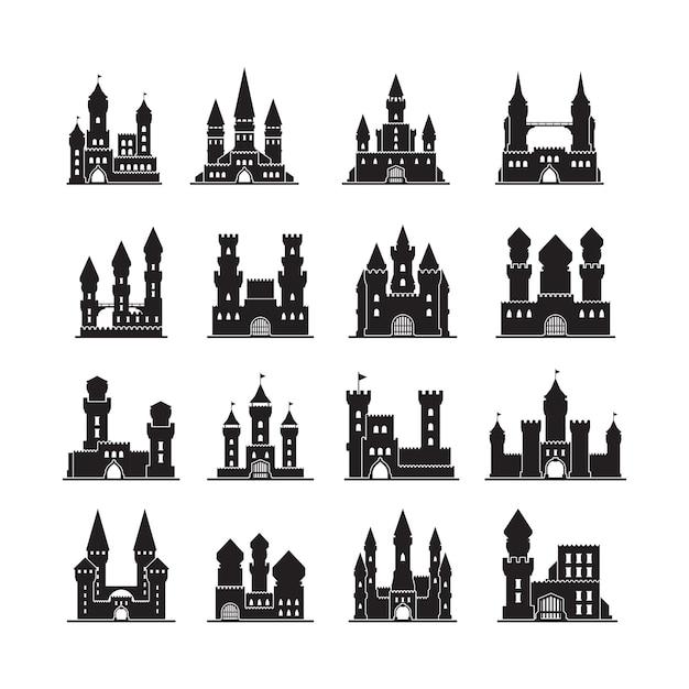 Sylwetki Zamku. średniowieczna Twierdza Starożytne Wieże Płaskie Budynki Królestwa. Ilustracja Zamek Z Wieżą, Sylwetka Twierdzy Premium Wektorów