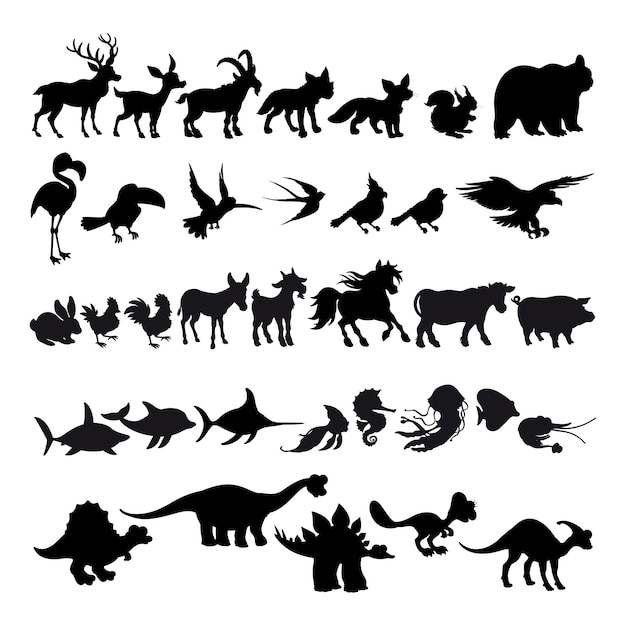 Sylwetki zwierząt kreskówek Premium Wektorów