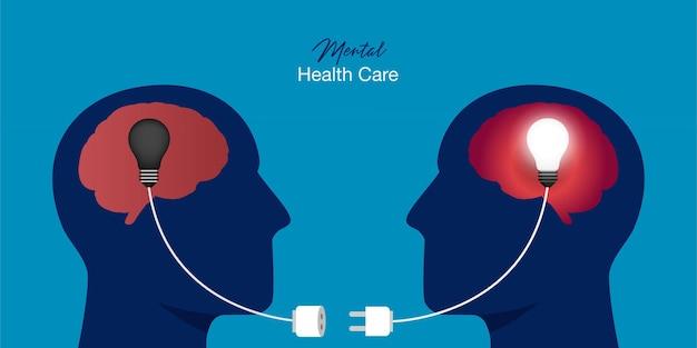 Symbol Dwóch Ludzkich Głów Z Podłączonymi żarówkami. Koncepcja Psychoterapii Premium Wektorów