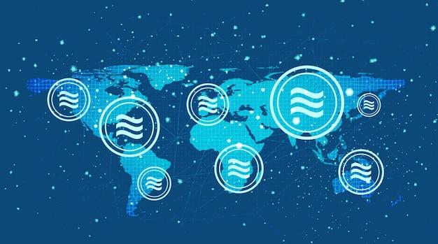 Symbol Kryptowaluty Libra Na Tle Globalnym Premium Wektorów