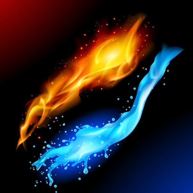 Symbol Ognia I Wody Premium Wektorów