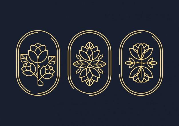 Symbol ozdobny streszczenie sztuka linii kwiat Premium Wektorów