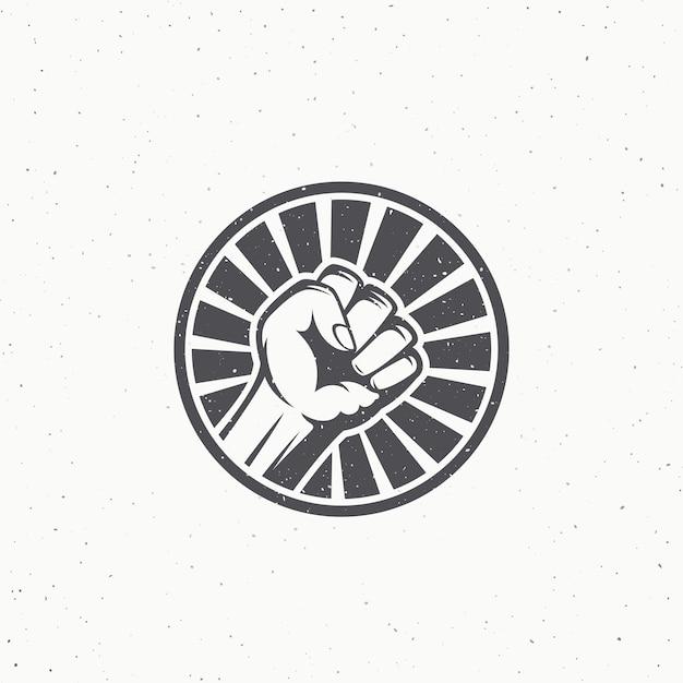 Symbol Pięści Buntu Działacza. Streszczenie Riot Etykieta, Godło Lub Szablon Logo. Premium Wektorów
