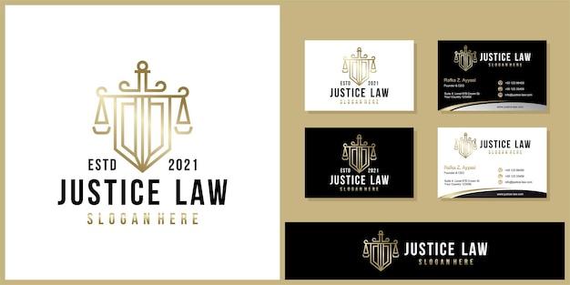 Symbol Prawnik Adwokat Adwokat Szablon Logo Firmy W Stylu Liniowym I Wizytówki Premium Wektorów