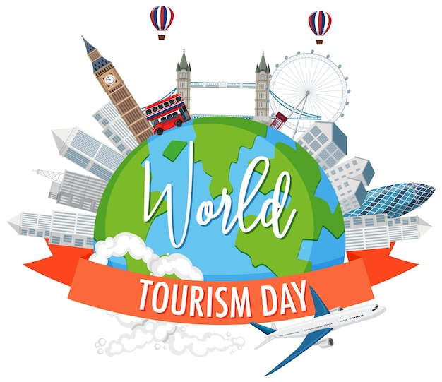 Symbol światowego Dnia Turystyki Premium Wektorów