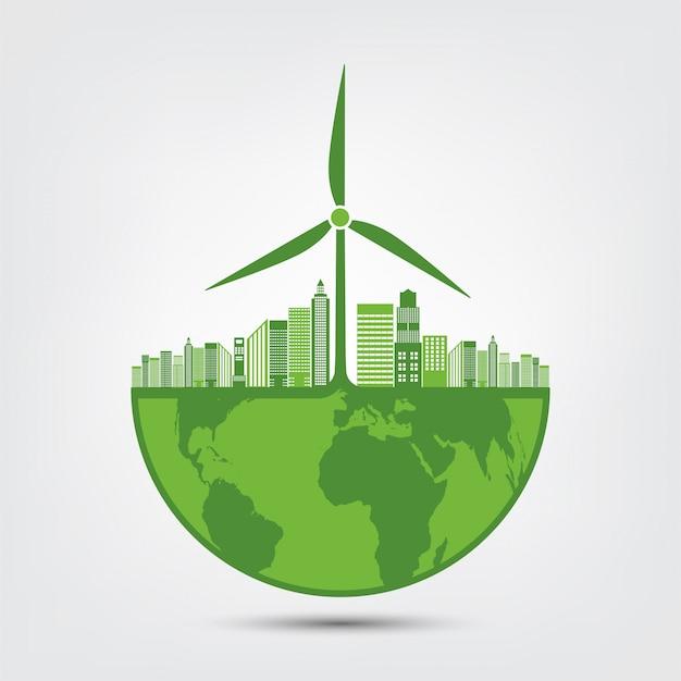 Symbol ziemi z zielonymi liśćmi wokół miast, pomóż światu dzięki ekologicznym pomysłom Premium Wektorów