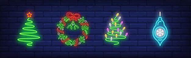 Symbole Dekoracji świątecznych W Stylu Neonowym Darmowych Wektorów