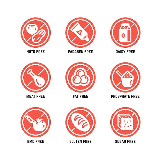 Symbole diety żywności, bez gmo, bez glutenu, bez cukru i alergii zestaw ikon Premium Wektorów