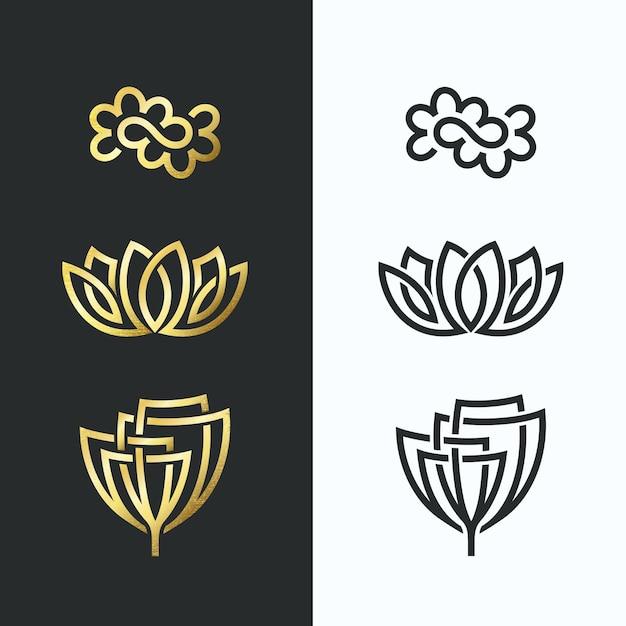 Symbole Linii Kwiatowej, Złote Kształty I Monochromatyczne. Premium Wektorów