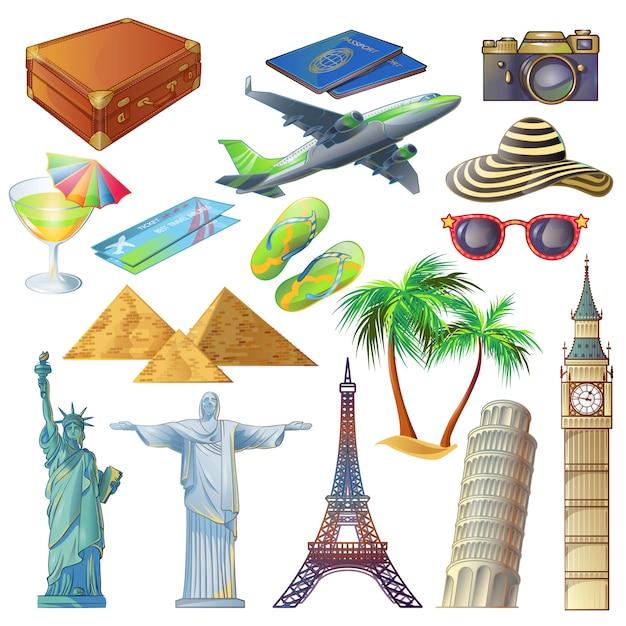 Symbole Na Białym Tle Widok Posągów, Wieże I Zestaw Akcesoriów Podróżników Stylu Cartoon Darmowych Wektorów