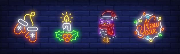 Symbole Nowego Roku W Stylu Neonowym Darmowych Wektorów