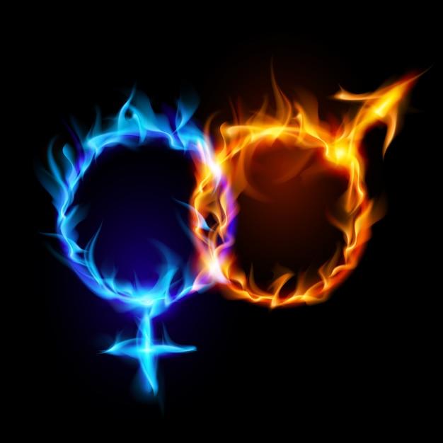 Symbole ognia marsa i wenus. Premium Wektorów