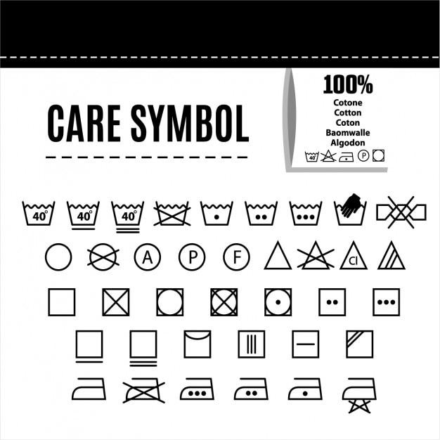 Symbole pielęgnacji ubrań Darmowych Wektorów