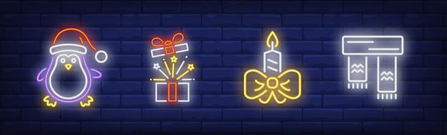 Symbole świąteczne W Kolekcji W Stylu Neonowym Darmowych Wektorów