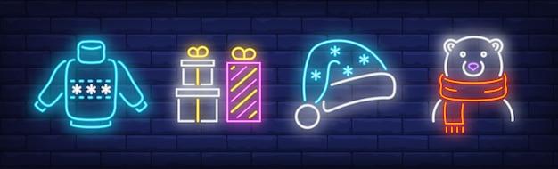 Symbole świąteczne W Stylu Neonowym Darmowych Wektorów