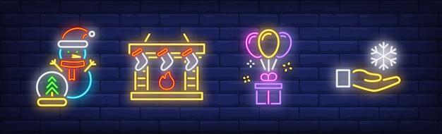 Symbole Szczęśliwego Nowego Roku W Stylu Neonowym Darmowych Wektorów