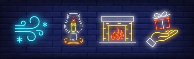 Symbole Xmas W Stylu Neonowym Darmowych Wektorów