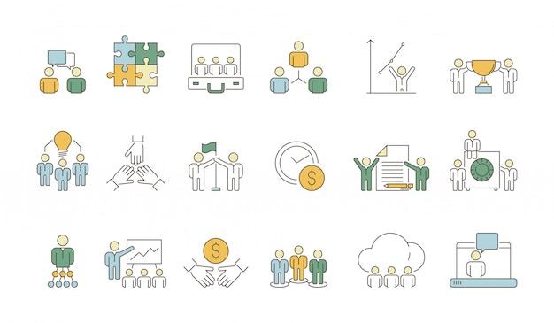 Symbole Zespołu Biznesowego. Praca Biurowa Organizacji Grupy Narodów Lider Coworking Tłum Kolorowe Cienkie Ikony Premium Wektorów