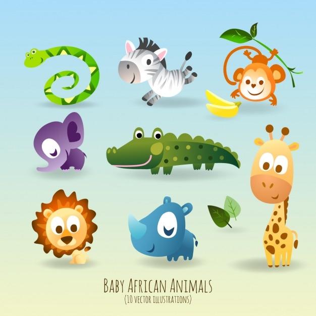 Sympatyczne i zabawne zwierzęta Darmowych Wektorów