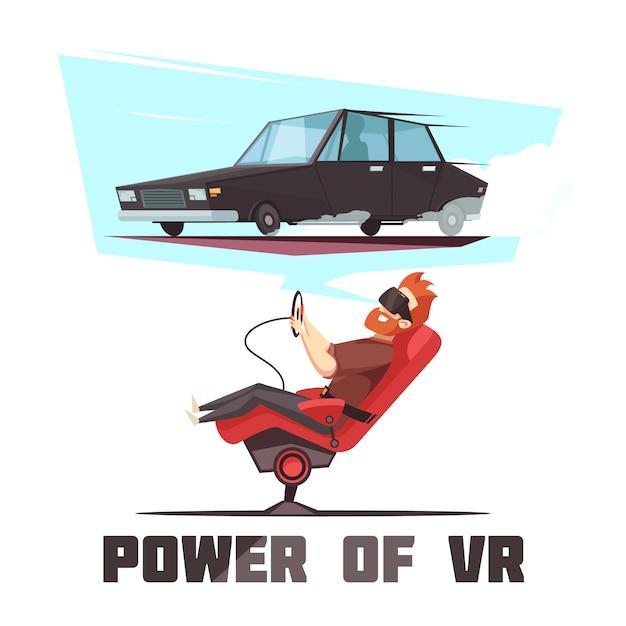 Symulator jazdy samochodem vr Darmowych Wektorów