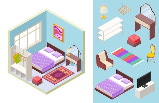 Sypialnia Izometryczna Premium Wektorów