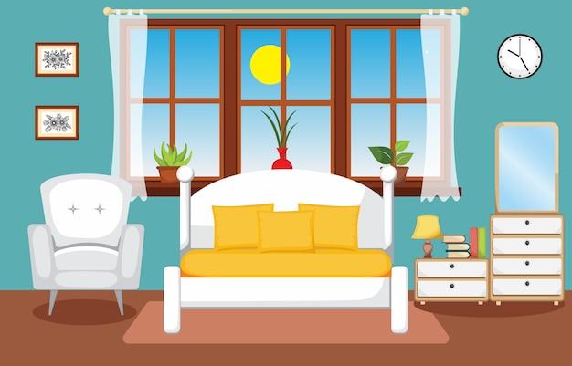 Sypialnia wnętrza sypialnia płaska konstrukcja ilustracja Premium Wektorów