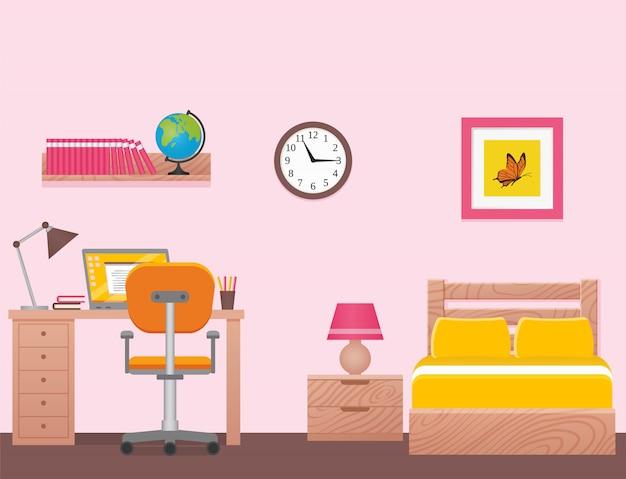 Sypialnia, Wnętrze Pokoju Z Pojedynczym łóżkiem. Ilustracja. Premium Wektorów