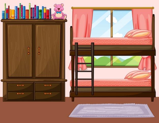 Sypialnia Z łóżkiem Piętrowym I Szafą Darmowych Wektorów