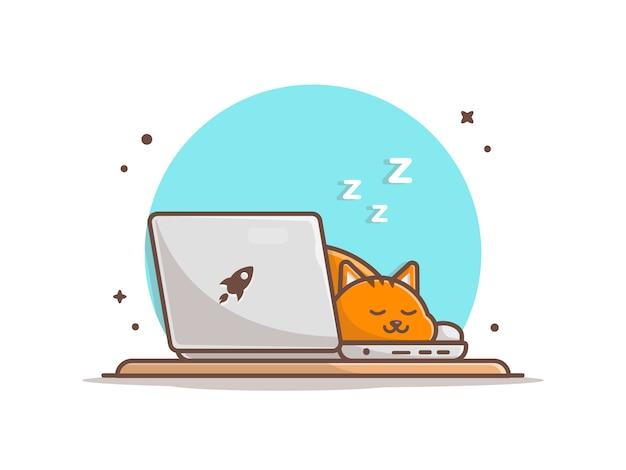 Sypialny kot na laptop ilustraci Premium Wektorów