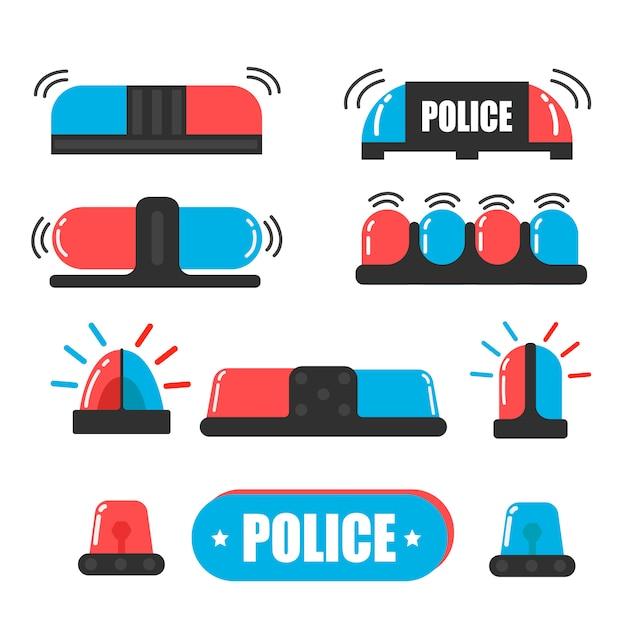 Syrena. Flasher Policjanta Lub Flasher Ambulansu. Wektor światło Policji Syreny. żarówki Są Niebieskie I Czerwone. Premium Wektorów