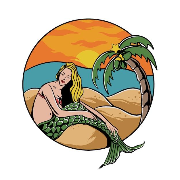 Syrenka Na Plaży Z Palmą I Zachód Słońca Premium Wektorów