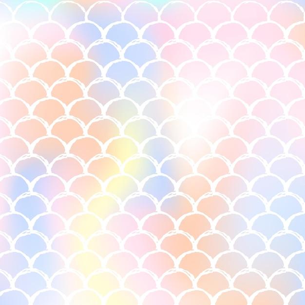 Syrenka Skaluje Tło Z Holograficznym Gradientem. Jasne Przejścia Kolorów. Premium Wektorów