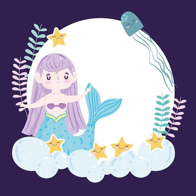 Syrenka Z Cute Rozgwiazdy I Ilustracja Jellyfih Premium Wektorów