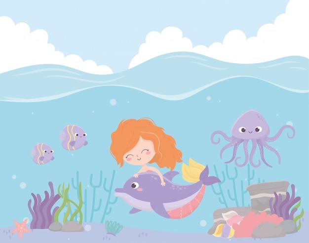 Syrenka Z Delfinem Ośmiornicy Ryby Koral Kreskówka Z Ilustracji Wektorowych Morze Premium Wektorów