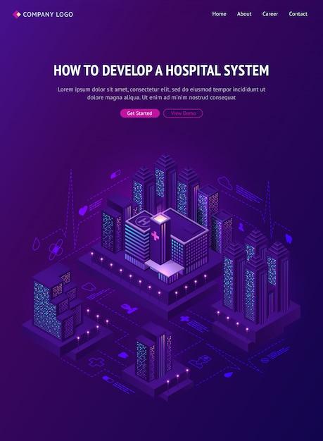 System Inteligentnego Miasta Szpital Izometryczny Baner Internetowy Darmowych Wektorów