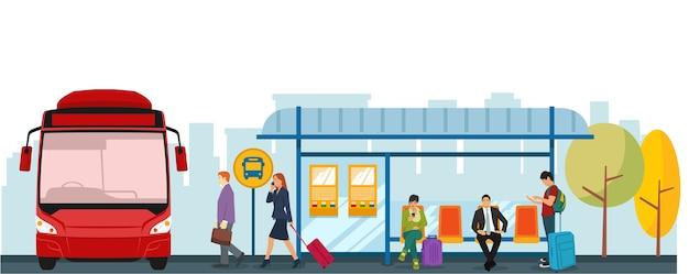 Sytuacja na przystanku autobusowym rano, kiedy ludzie idą do pracy Premium Wektorów