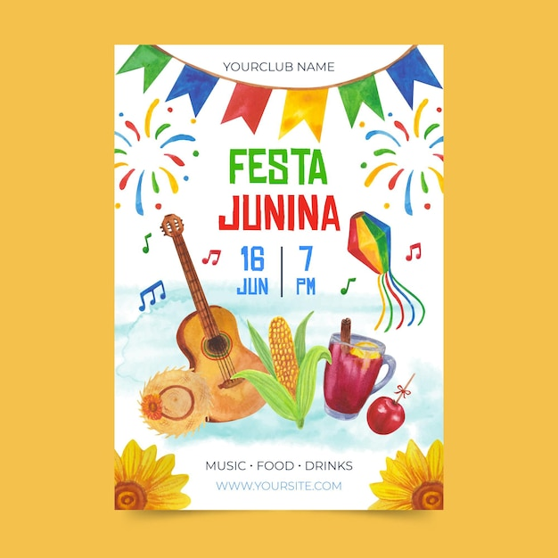 Szablon Akwarela Festa Junina Plakat Darmowych Wektorów