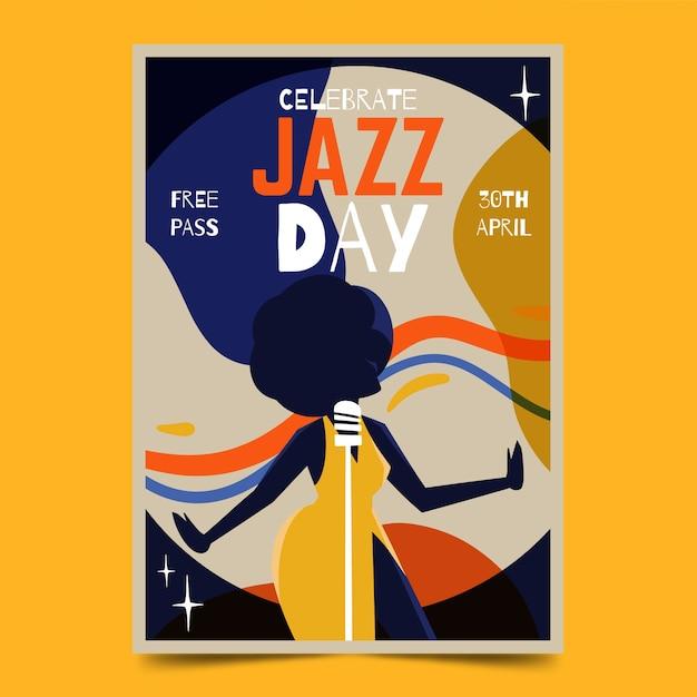 Szablon Akwarela Międzynarodowy Plakat Jazzowy Dzień Darmowych Wektorów