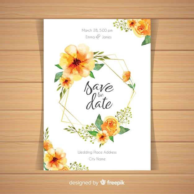 Szablon akwarela wesele kwiatowy karty Darmowych Wektorów