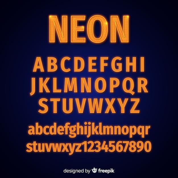 Szablon alfabetu neonowego Darmowych Wektorów