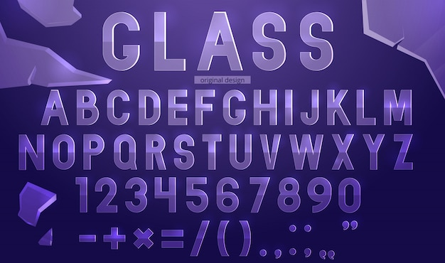 Szablon Alfabetu Szkła Premium Wektorów