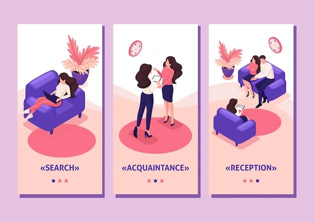 Szablon Aplikacji Izometryczny Koncepcja Małżonków W Recepcji Psychologa, Konflikt W Rodzinie, Aplikacje Na Smartfony Premium Wektorów