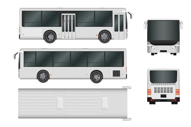 Szablon Autobusu Miejskiego. Transport Pasażerski Ze Wszystkich Stron Widok Z Góry, Z Boku, Z Tyłu I Z Przodu Premium Wektorów
