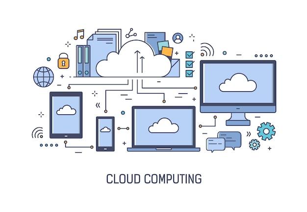 Szablon Banera Internetowego Z Podłączonymi Do Sieci Urządzeniami Elektronicznymi Premium Wektorów