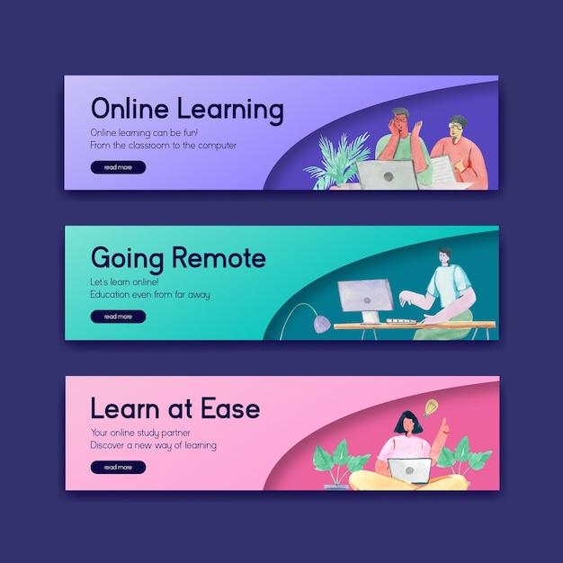 Szablon Banera Z Koncepcją Uczenia Się Online Do Reklamy I Marketingu Ilustracji Akwareli Darmowych Wektorów