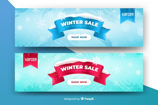 Szablon banery realistyczne sprzedaż zima Darmowych Wektorów